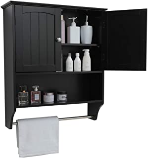 IWELL Black Wall Bathroom Cabinet with 1 Adjustable Shelf & Towels Bar, Over The Toilet Space Saver Storage...