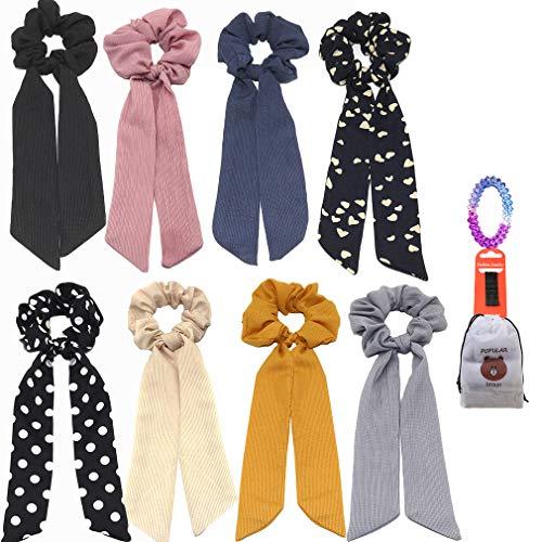 6Pcs Bandana Hair Scrunchies, Chiffon Elastic Hair Bands Hair Scarf, Vintage Hair Accessories Ropes Ponytail Holder Scrunchy Ties for Women Girls (6 Colors Pack B)