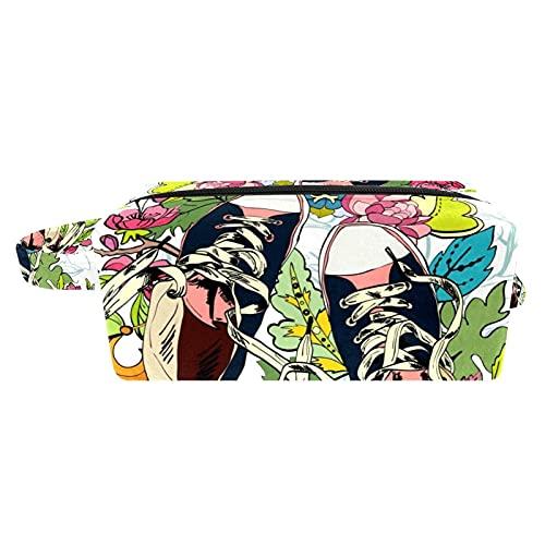 Bolsa para Cosméticos Flores Zapatos Bolsas de Maquillaje de Viaje Portátil Neceser de Maquillajepara para Mujeres niñas 21x8x9 cm