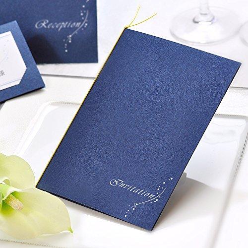 招待状手作りキット「ナイトブルー」(返信用ハガキ無地) /結婚式
