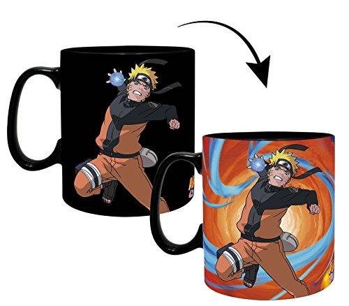 Close Up Naruto Shippuden XL Thermoeffekt Tasse Duell - schwarz, Bedruckt, aus Keramik, Fassungsvermögen ca. 460 ml.