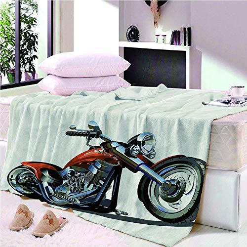 YASHASHII- Kuscheldecke Flanell Mikrofaser 180x200cm 3D Lokomotive Motorrad Gedruckte Decke Fleecedecke Weich Wohndecke Tagesdecke Dicke Sofadecke zweiseitige Decke Sofa & Bett