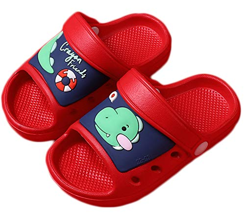 Kid's Garden Clogs Boys Girls Lightweight Open Toe Beach Pool Slides Sandals Toddler Non-Slip Summer Slippers Water Shoes,Red,10-11 Little Kid.