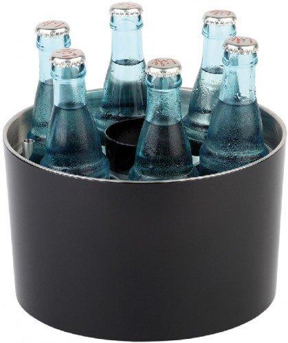 APS Enfriador - enfriador de botellas, refrigeración para botellas redondo, enfriador de mesa para 6 botellas, incl. aculumador de frío, abridor de botellas, recuperador de chapas, Ø 6,7 cm para botellas de 0,25 L. a 0,5 L.