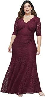 V-Neck Ruched Lace Plus Size Mother of Bride/Groom Gown with 3/4 Sleeves Style 21719W