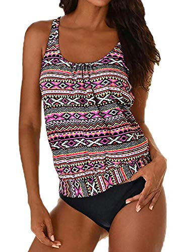 Yidarton Damen Tankini Bauchweg Bedruckter Badeanzug Zweiteiler Bikini Sets Push Up Swimsuit Gepolsterte Bademode Beachwear (10-Mehrfarbig, XXL=(EU,42-44))