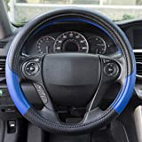 Motor Trend SW-807-BL Blue Synthetic Leather Steering...