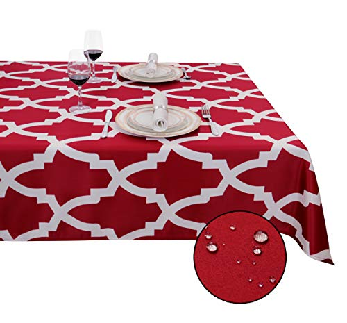 SANBOLI Tablecloth-Rectangle Table Cloth Spillproof Waterproof Stain Resistance Decorative Tablecloths for Christmas Decoration/Dining Room/Kitchen,Table Cover (Morrocan-Red 60x84 inch)