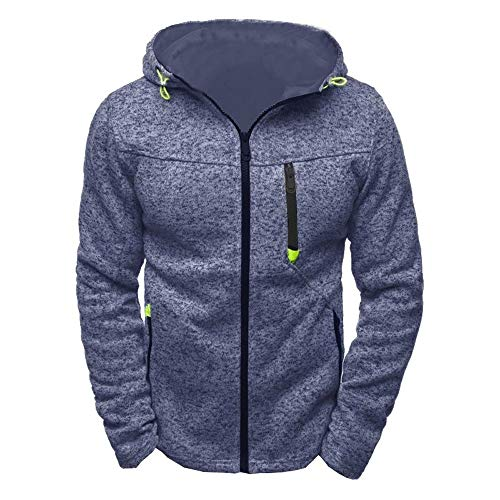 HROIJSL Herren Sport Zipper Sweater Fleece Cardigan Kapuzenjacke Hoody Zipper Slim Hoodies Sweatshirts Pullover Mantel Jacke Kapuzen Sweatshirt aus Baumwollfleece, Schwarz Hoodie