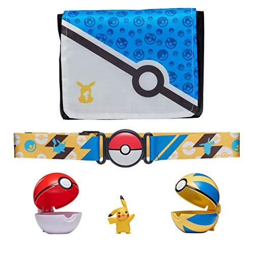 Pokemon Bandolier Set, Cuenta con 1 Figura de Pikachu de 5cm, 2 pokebolas Clip