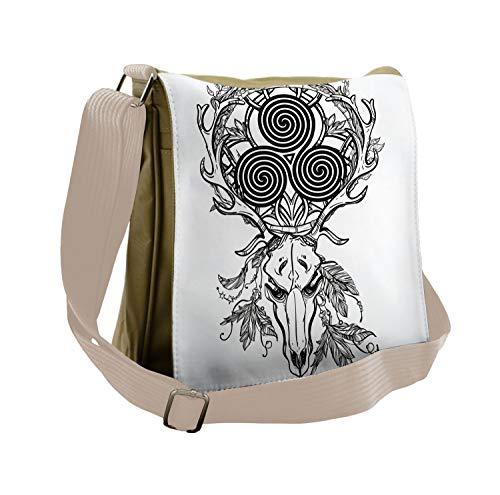 Ambesonne Celtic Messenger Bag, Deer Skull Feather Boho, Unisex Cross-body