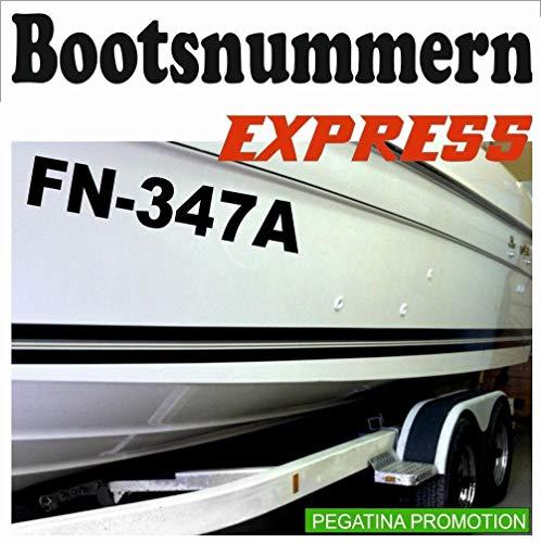 Bootsnummern, 2 Stück in 10cm Höhe UV & seewasserfest, Amtliche Bootskennzeichen, Aufkleber für Boote, GFK, Bootkennzeichen, Bootaufkleber Bootsaufkleber