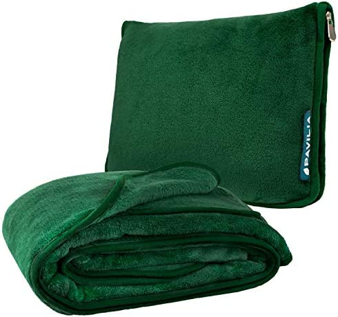 PAVILIA Travel Blanket and Pillow Warm Soft Fleece 2 in 1 Combo Blanket for Airplane Camping product image