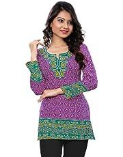 رداء هندي قصير كورتي من Maple Clothing للنساء مطبوع عليه ملابس هندية