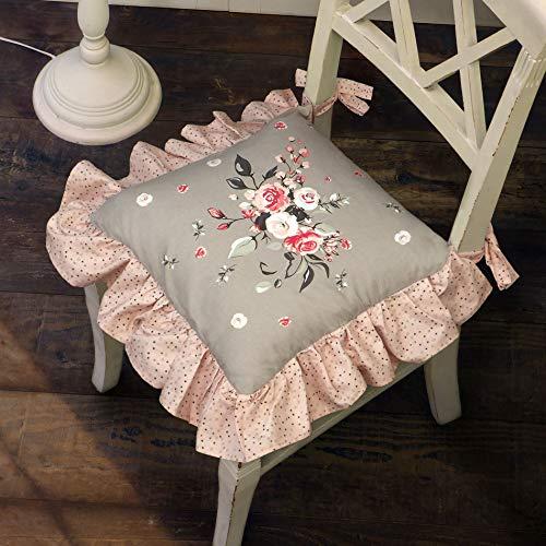 N.di S. Cuscino per Sedia Shabby Chic con Volant 100% Cotone, Cuscino Completo d' Imbottitura, Colore Grigio/Rosa Chiaro