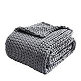 Zonli Cooling Weighted Blanket 15lbs Queen/King Handmade Knitted Chunky Blankets No Beads...