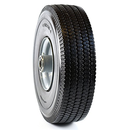 NK Heavy Duty Solid Rubber Flat Free Tubeless Hand Truck/Utility Tire Wheel, 4.10/3.50-4