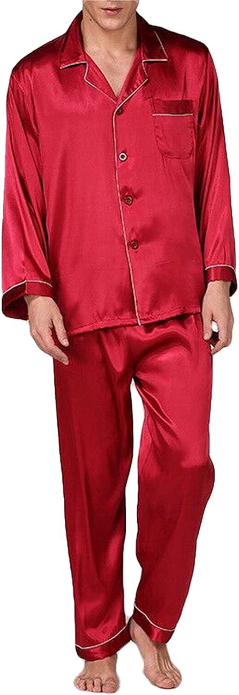 Mens Silk Satin Pajamas Sets Solid Long Sleeve Button Down Tops Pants Sleepwear Pjs Loungewear with Pocket
