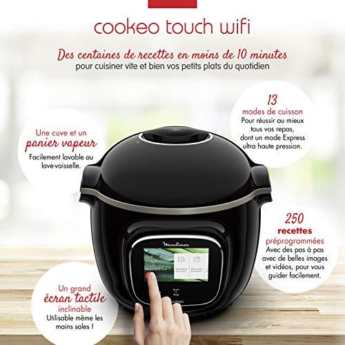 Moulinex Cookéo Touch Wifi Multicuiseur Intelligent Haute Pression Connecté Ecran Tactile 250 Recettes 13 Modes de Cuisson 6L Jusqu'à 6P Pas à Pas Images Vidéos Facile Inspiration 1600W Noir CE902800