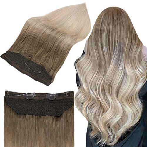 Full Shine Halo Hair Extensions Blonde Human Hair Balayage 20 Inch Light Brown Fading To Ash Blonde And Platinum Blonde 60 Invisible Secret Fish Line Hairpiece 80 Grams Super Easy To Install