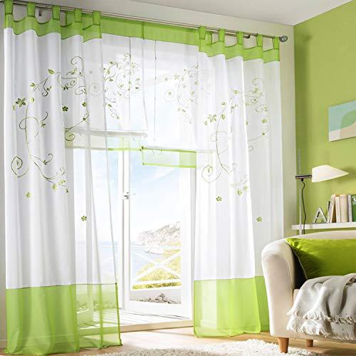 SIMPVALE Rideaux Voilages Floral Voile Broderie a Pattes Panneaux de Fenêtres pour Chambre Salon Décoration 2 Panneaux, Vert, L140cm x H225cm