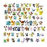 OMZGXGOD Pokemon Figuras ,Mini Figuras de plástico tamaño pequeño Regalo,La Figura de Pokémon Incluye a Pikachu, Charmander, Squirtle, niños(96 Piezas)