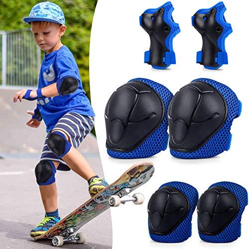 BDPP Set di Ginocchiere per Bambini,Protezioni Set di 2X gomitiere, 2X polsiere e 2X Ginocchiere protettive per Bambini per Pattini,Hoverboard, Scooter Linea Bicicletta Protezione Bambina(Blu)