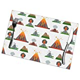 yyndw Kitchen Table Mat Volcano Magma Nature Blowing Up with Smoke Juego De 6 Manteles Individuales Juego De Mesa De Cocina Clásica para Fiestas Mesa De Poliéster para Interiores Juego D