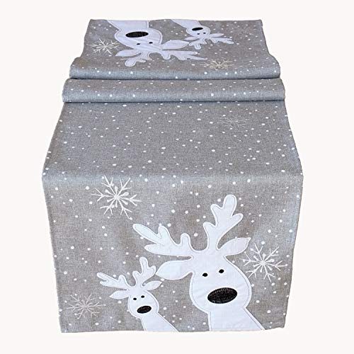 Raebel Table Runner with Reindeer Motif Various Sizes Light Grey / White Size: 85 x 85 cm