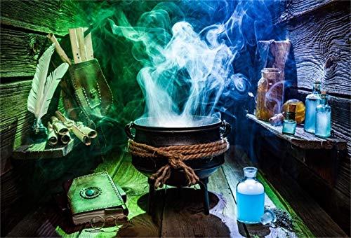 EdCott 10x8ft Zaubertrank Hexensuppe Fotografie Hintergrund Zauberer Giftflasche Mittelalter Alchemie Vintage Magical Power Buch Zauberbuch Zauberer Halloween Fotostudio Requisiten Vinyl Banner
