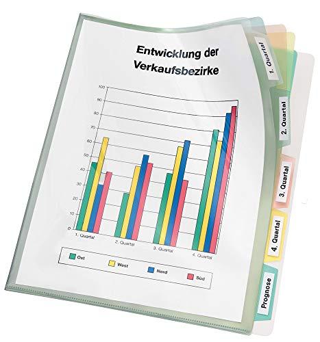 Veloflex 4540000 Registerhülle DIN A4, Prospekthülle mit Register aus PP-Folie, Hüllenregister farbig Transparent, 1 Stück