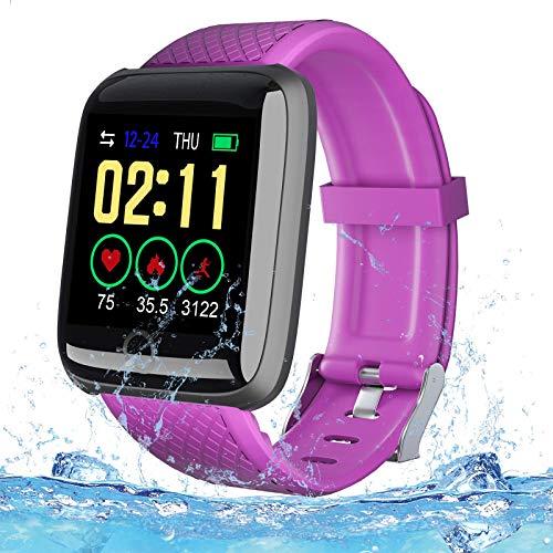PLDDY Smartwatch,Fitness Armbanduhr mit Pulsmesser Wasserdicht,Aktivitätstracker mit Pulsoximeter Schrittzähler Uhr Sportuhr,Schlafmonitor,Fitness Tracker für Damen Herren iOS Android,lila