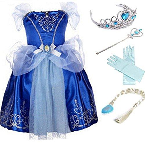 YOGLY Mädchen Prinzessin Elsa Kleid Kostüm Eisprinzessin Set aus Diadem, Handschuhe, Zauberstab, Größe 120, 11 Kleid und Zubehör