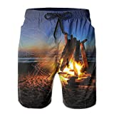 Mens Hong Kong Road Night Building Top View Swim Trunks Drawstring Quick Dry Board Shorts Large