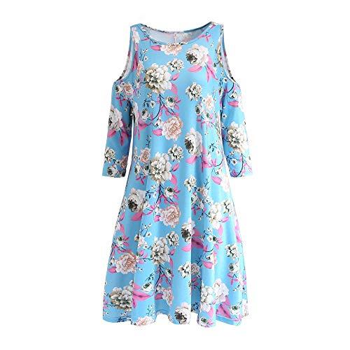 yanghuakeshangmaoyouxiangong Damen Kleider Tshirt Kleid Winterkleid Damen Trägerlosen Print Kleid Lose Große Schaukel Fünf-Punkt-Ärmel Damen Lose Pullover Tunika Ärmeln