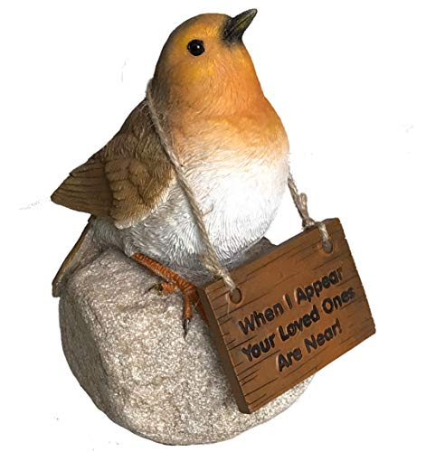 Animal Crackers Remembrance Robin with 'Loved ones are near' sign memorial ornament bird lover gift