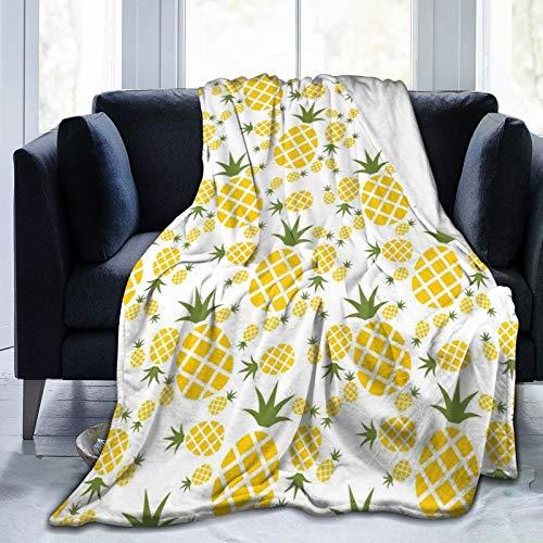 PANILUR Flanell Fleece Soft Throw Decke,Ananas Piktogramm dekorative Vintage Muster Farm vibrierende Farbe,für Sofas Sofa Stühle Couch Leicht,warm und gemütlich 127x102cm