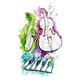 Voorkoms Music Instruments Guitar Piano Saxophone Temporary Body Tattoo Waterproof For Girls Men Women Beautiful & Popular Water Transfer Size 11CM x 6CM - 1Pcs