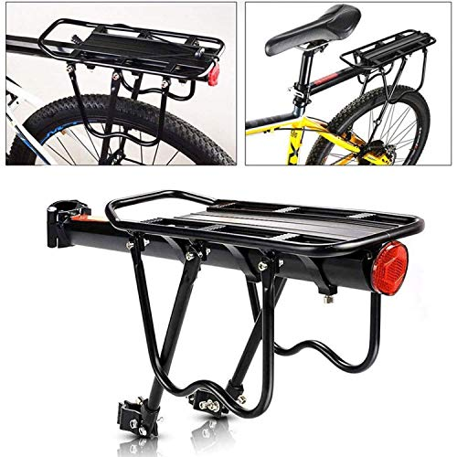 Malayas Bike Pannier Rack, Bicycle Rear Rack Cycling Seatpost Rack MTB Aluminum Luggage Cargo Rack with Reflector and Cargo net (BlackwithNet)