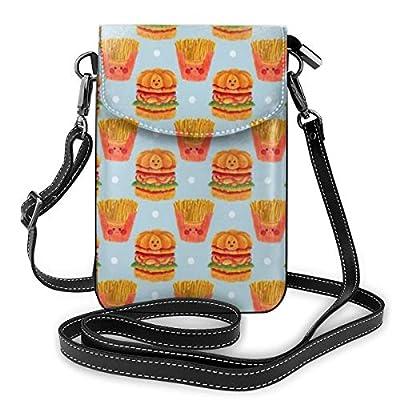 Goxegag Fourre-tout En Cuir Pour Téléphone Portable Multifonctions, Sac à Dos Léger Et élégant, Bandoulière Et Bandoulière Réglable-Motif hamburger et frites
