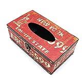 POFET Vintage Chic Shabby Caja de pa?uelos de madera Rectángulo Artesanía Caja de papel de seda Cubierta Servilletero Organizador Titular Almacenamiento en el hogar-Nueva York