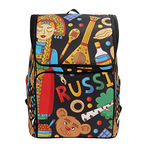 LISNIANY Mochilas Escolares,Iconos Coloridos de Dibujos Animados de Doodle Tradicional de Rusia,Mochilas,Bolsas para computadora,Bolsas Viaje para Estudiantes