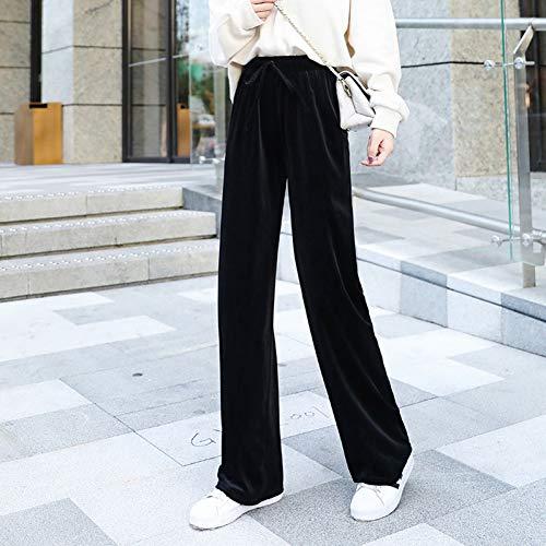 YSDSBM Pantalones Mujer Peluche Sólido Pierna Ancha Más Terciopelo Invierno Cálido Elegante Cintura elástica Pantalones para Mujer Ocio Mujeres Chic