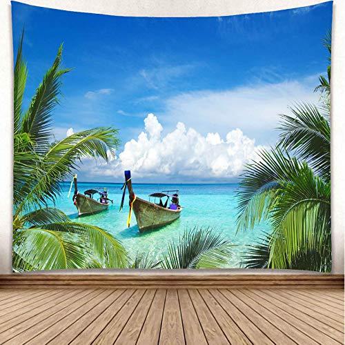 YISURE 椰子の木とボート 青い海、青い空、白い雲 タペストリー 200x150cm