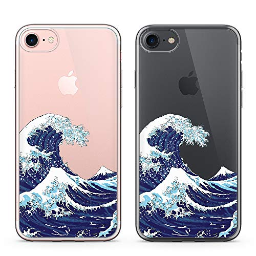 uCOLOR Japanese Wave Case for iPhone 6S Clear Case,iPhone 6 Transparent Clear Case for iPhone 8,iPhone 7 SE (2020) Hybrid TPU Bumper + Hard Back Cover for iPhone 6S 6 8 7 SE 2nd(4.7 inch)