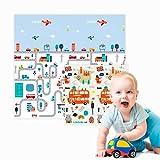 Edibaby, Alfombra Bebe, Diseño Infantil, 200 x 180 cm, Acolchada 1.5 cm de Grosor de XPE, Reversible y Plegable, Colchoneta para Niños, para Juegos en el Suelo, Segura y Duradera (B)