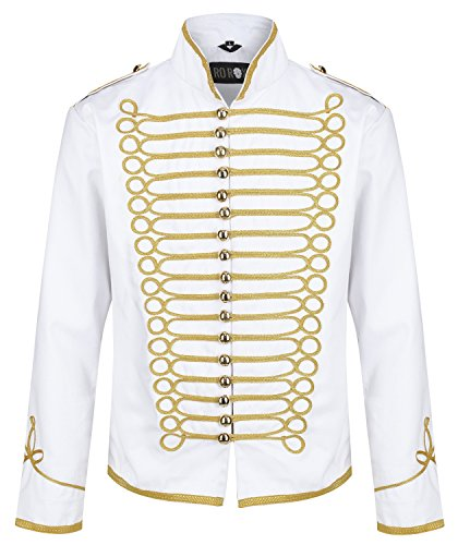 Ro Rox Military Steampunk Hussar Parade Jacket - White & Gold (X-Large)