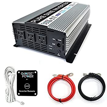 GoWISE Power 1500W Pure Sine Wave Power Inverter 12V DC to 120 V AC with 3 AC Outlets 1 5V USB Port 2 Battery Cables and Remote Switch  3000W Peak  PS1005  Brand Name/Packaging May Vary