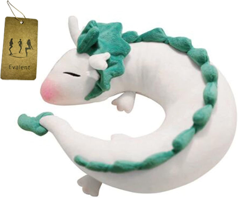 Evalent Anime Cute White Dragon Doll Plush Toy Japanese Animation Pillow Neck UShape White