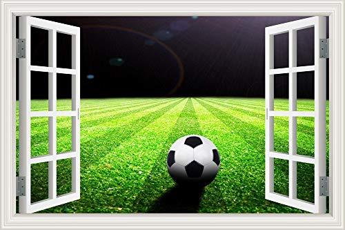 Fútbol Deportes Liga de Campeones Pelota Campo de fútbol Césped Proyector Paisaje 3D Ventana Vista Pared Stikcer Papel tapiz de PVC Dormitorio Club Decoración del hogar